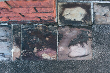 Decorative Square-shaped Paving Tiles. Background, Textures Imitating Natural Stone