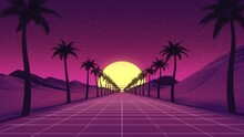 Camera Moves Along Syntwave Wiframe Net. Palm Trees Around The Road. Retrowave
