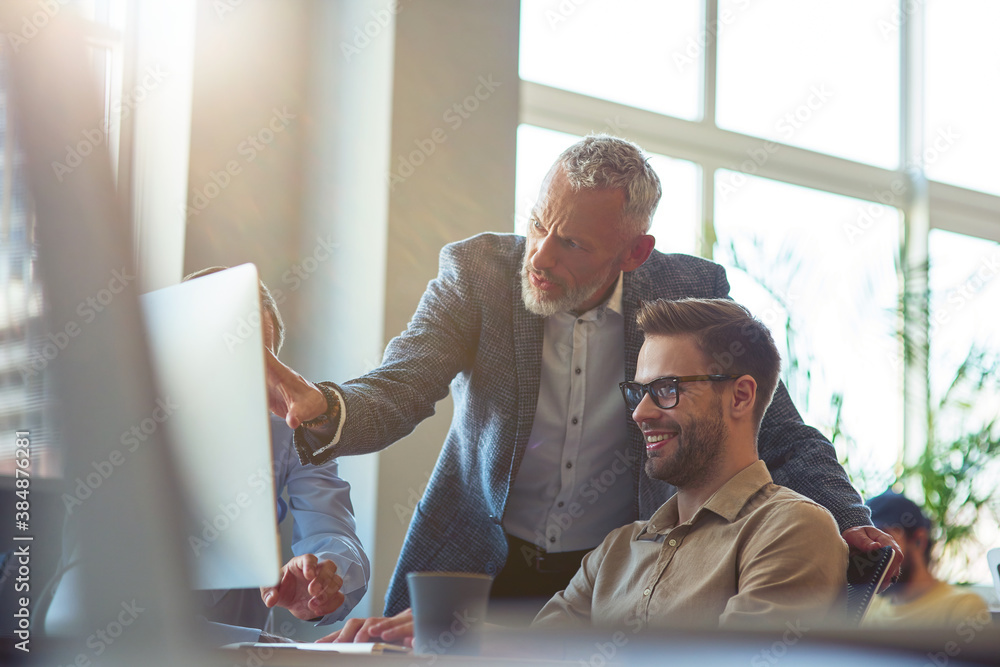 Fototapeta Business people sitting at desk in the modern office, looking at PC screen and discussing project, confident mature man explaining something to his young male coworker