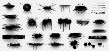 Ink Splashes. Black Inked Splatter Dirt Stain Splattered Spray Splash With Drops Blots Isolated. Ink Splashes Stencil. High Quality Manually Traced. Drops Blots Isolated. Vector Illustration