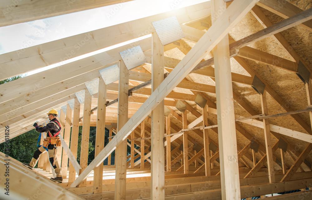 Fototapeta Wooden Roof Skeleton Frame of Building
