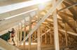 Leinwandbild Motiv Wooden Roof Skeleton Frame of Building