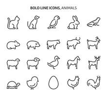 Animals, Bold Line Icons