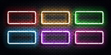 Vector Set Of Realistic Isolated Neon Sign Of Frame For Template And Layout.