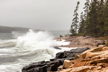 Gale Force Winds Whip Up Crashing Waves Along The Rocky Coast Of Schoodic Point Maine Near Acadia National Park