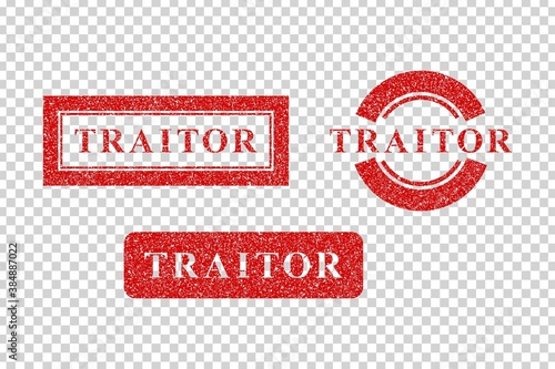 Slika na platnu Vector set of realistic isolated red rubber stamps of Traitor on the transparent background