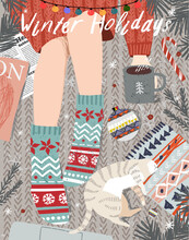 Merry Christmas And Happy New Year! Vector Illustration Of A Cozy Winter Still Life With A Top View: A Girl With A Cup Of Coffee In Socks, A Pet Cat, Christmas Tree Branches, Christmas Balls.