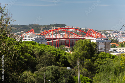 Beautiful view from Monsanto Park to Benfica Soccer Stadium