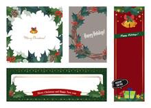 アンティークなクリスマスのデザイン バナー、カード 4種類セット