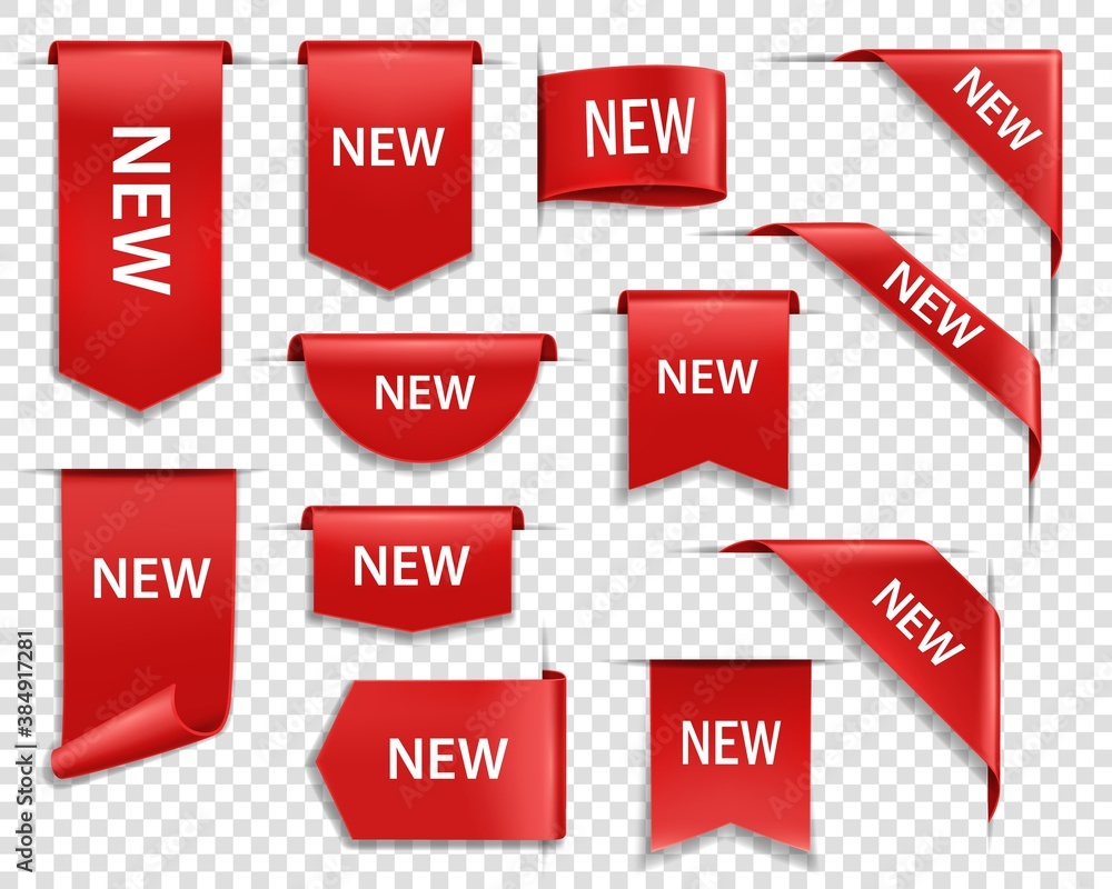 Fototapeta Label banners, NEW tag badges and icons for web page, vector red signs. Sale promotion corners and product ribbon stickers, new arrival in store and online shop special price offers
