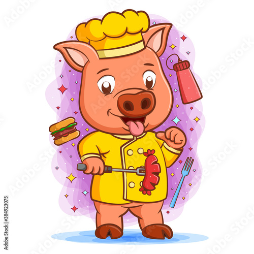 The master chef pig with happy face holding sausage #384923075