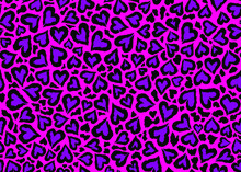 Pink Leopard Skin Pattern Design. Abstract Love Shape Leopard Print Vector Illustration Background. Wildlife Fur Skin Design Illustration For Print, Web, Home Decor, Fashion, Surface, Graphic Design