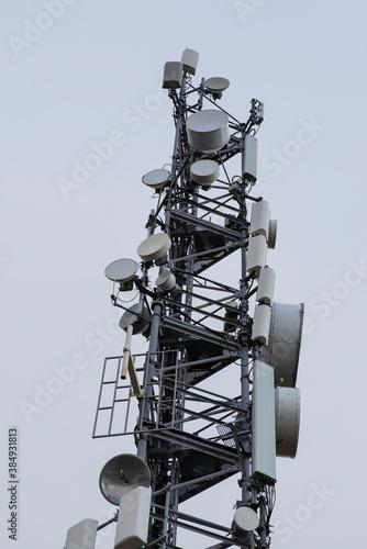 Obraz na plátně Telephony relay antenna on a mountain peak