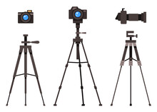 Set Of Isolated Flat Design Modern Professional Studio Flash Light Removable Lens Photocameras With Tripod, User Instruction Digital Camera On Tripod, Professional Equipment, Isolated On White