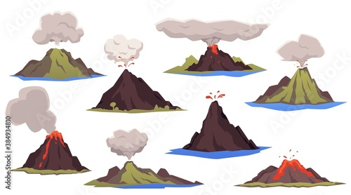 Photo Set of erupting volcanoes with lava, clouds of smoke and ash a vector illustrati
