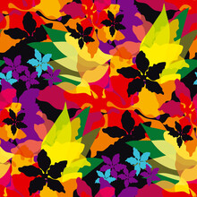 Carnival Colors Abstract Flowers Pattern