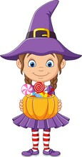 Cartoon Little Witch Girl Holds A Pumpkin Basket With Candies
