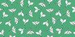 Seamless organic pattern with spring sprout. Botanical elegant green and blue background. Sketch style. Plant leaves and twigs. Good for textile, fabric design, wraping paper, package and card design.