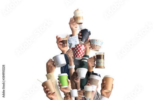 Obraz People are holding mugs and paper cups of coffee. Concept on the theme of cafes and coffee. - fototapety do salonu
