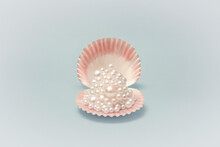 Pink Seashell With Pearls