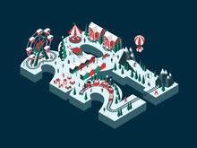 Vector Illustration On The Theme New Year 2021. Isometric Style. Happy People Are Having Fun And Celebrating Winter Holidays. For A Poster Or Banner And Greeting Card.