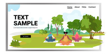 Mix Race Pregnant Women Doing Yoga Fitness Exercises Training Healthy Lifestyle Concept Girls Meditating In Park Landscape Background Horizontal Full Length Copy Space Vector Illustration