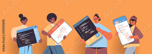 mix race web developers creating program code development of software and programming concept portrait horizontal copy space vector illustration - 384959898