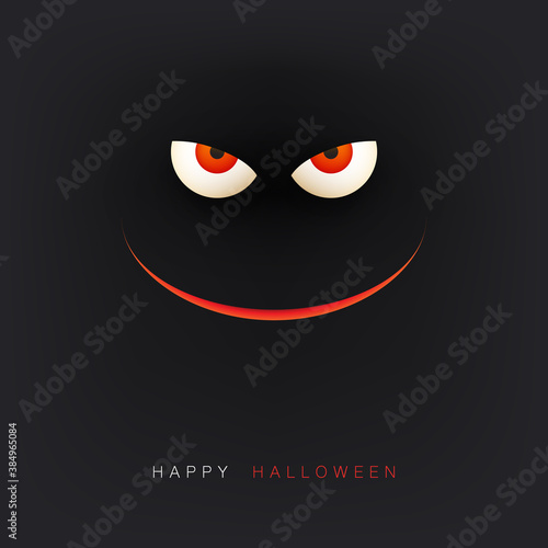 Obraz Happy Halloween Card Template - Creepy Face with Glowing Eyes and Scary Smile in the Dark - Vector Illustration - fototapety do salonu