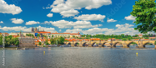 Panorama of Prague city historical centre with Prague Castle, St Wallpaper Mural