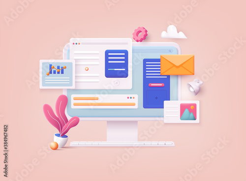 3D Web Vector Illustrations. Computer with open pages. Landing page template for web.