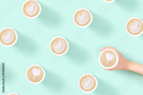 Obraz Pattern with take away coffee latte art in reusable eco thermo mug. - fototapety do salonu