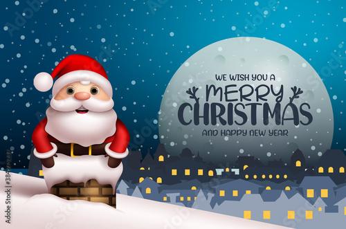 Billede på lærred Merry christmas vector background design