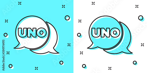 Fotografía Black line Uno card game icon isolated on green and white background