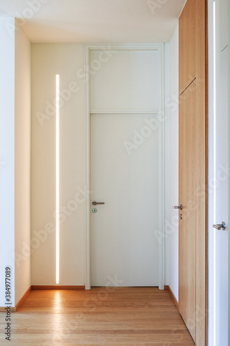 Obraz Corridor detail with door and led strip. Minimal apartment - fototapety do salonu