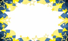 Christmas Celebration Sale Event Invitation Starbust Background In Swedish Blue And Gold With Stars