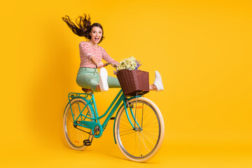 Full length body size photo of funky girl riding bicycle keeping legs up screaming isolated on bright yellow color background