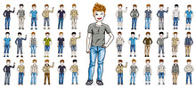 Cute Little Child Boys Early Teenagers In Different Casual Wear Standing In Full Length And Posing Vector Illustrations Isolated Big Set, Happy Beautiful Kids Drawings Collection, People Diversity.