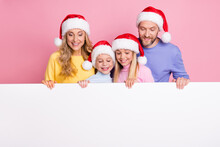 December Winter X-mas Sale People Mom Dad Small Kids Look Paper Card Space Wear Santa Claus Cap Isolated On Pink Color Background