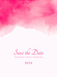 Hand painted watercolor texture. Abstract pink color splash on white background. Book cover or poster design. Wedding invitation of save the date card template. Place for text.