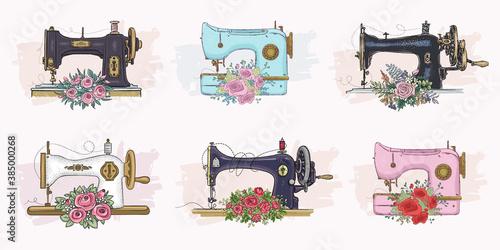 Obraz na plátne Set of hand drawn sewing machines