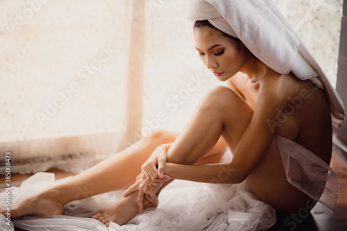 Fototapeta Portrait of young asian sexy girl with long hair using as background cosmetics woman makeup fashion people model obraz