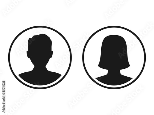 Fototapeta Men and women head business silhouette icon set. Human black avatar vector in line circle isolated on white. Male and female profile picture illustration. obraz
