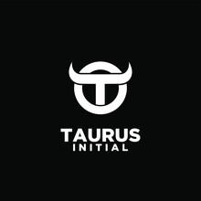 Ring Bull Taurus Initial T Horn Logo Icon Design Vector Illustration White Background