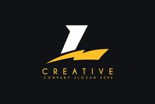 Initial L Letter Logo Design With Lightning Bolt Vector Illustration. L Lightning Minimalist Logo Isolated On Black Background