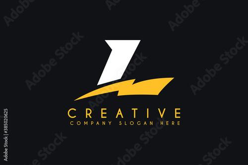 Leinwand Poster initial L letter logo design with lightning bolt vector illustration