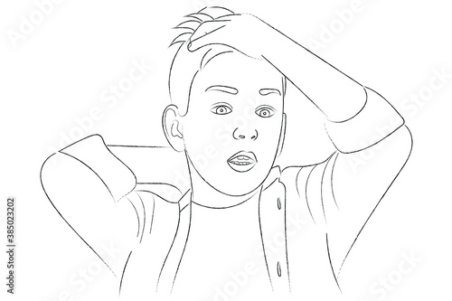 Photo Sketch portrait of a surprised boy who put one hand on his head