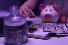 On Table There Is Piggy Bank, ...