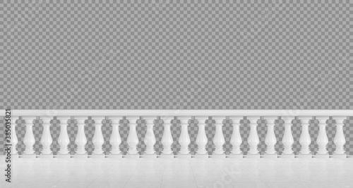 Fotografie, Obraz White marble balustrade for balcony or terrace