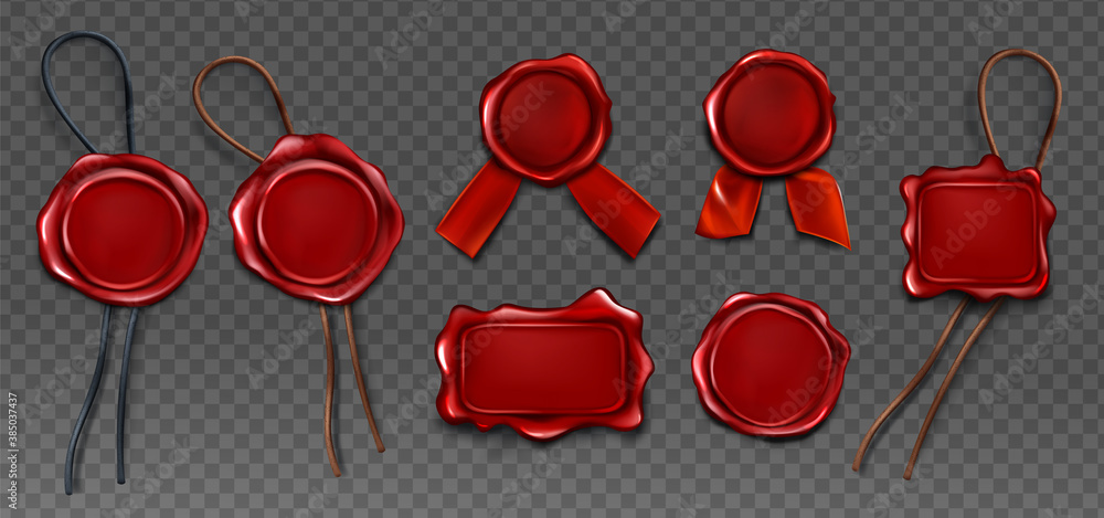 Fototapeta Red wax seal stamp approval sealing icons set