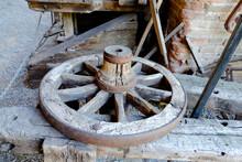 Wooden Wagon Wheel Resting On ...